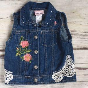 Little Lass Jean Denim vest lace flowers 3T